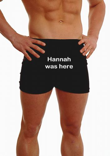 PERSONALISED MENS HIPSTER BOXER SHORTS - EMBROIDERED - ANY MESSAGE I WAS HERE